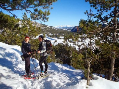 Snowshoes in the Pyrenees. High level