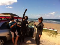 Putting the wetsuit next to the sea