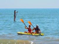 在海滩和桨皮划艇