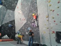 Practice climbing in indoor climbing wall