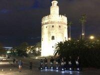 gold tower at night