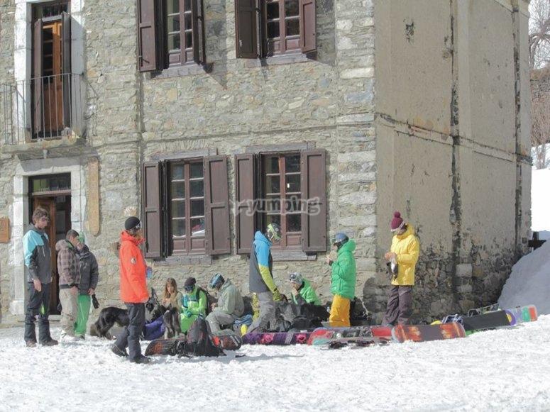 滑雪板后休息