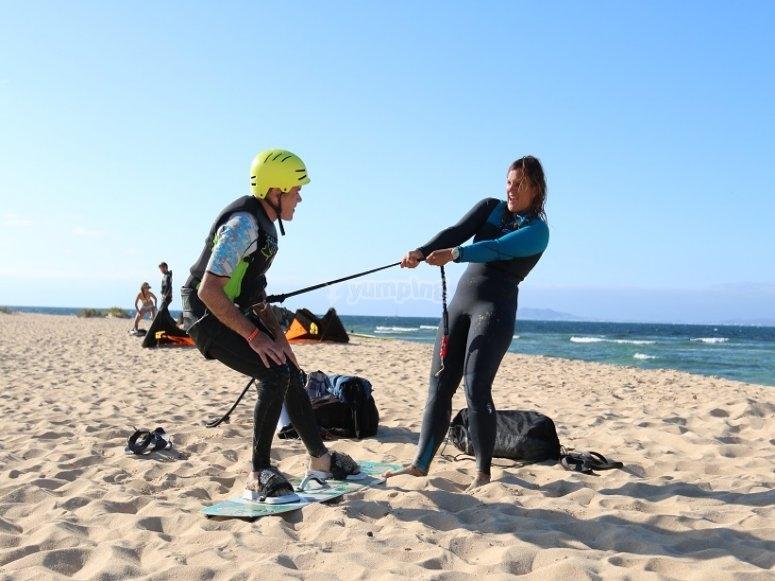 Preparativos de kitesurf