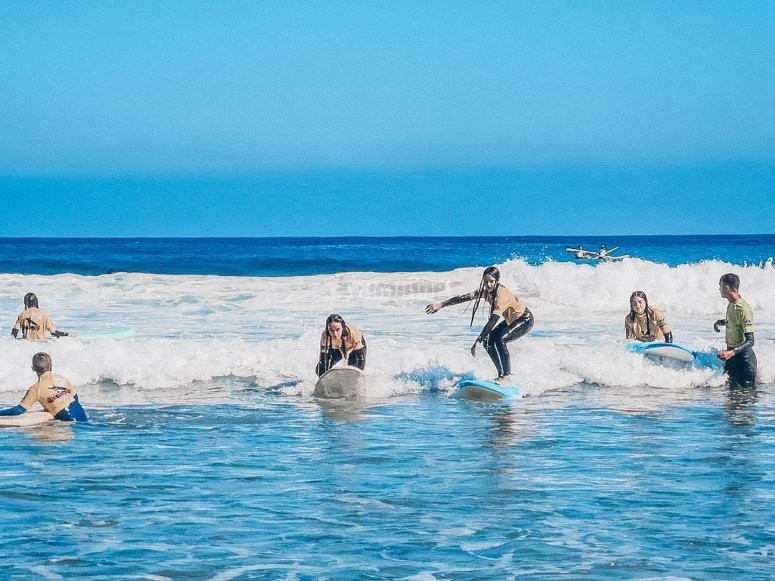 Surfing classes at the camp