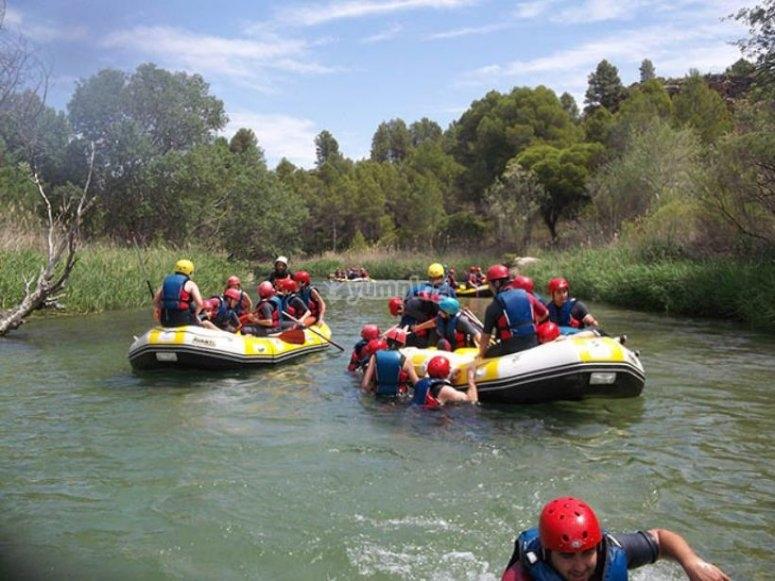 rafting en campamento