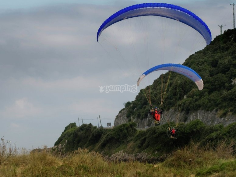 Flying with a paramotor