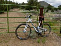 自行车靠在栅栏