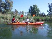 标志公园Deltaventur游览独木舟下来从船上米拉韦特