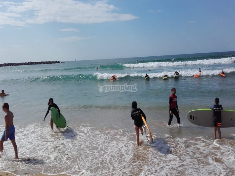 Surf class during urban camp