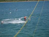 Practicing wakeboard