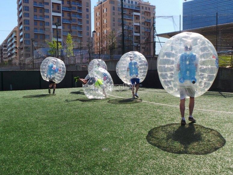 Todos preparados con sus burbujas