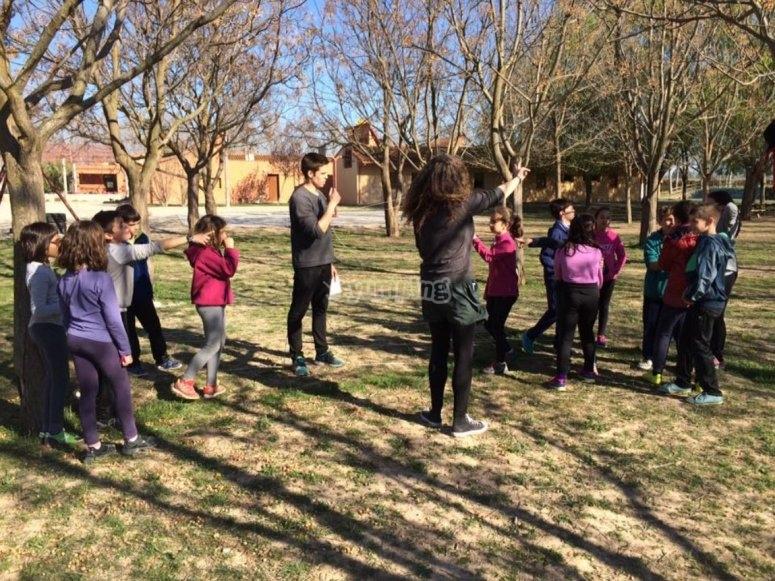 团队在树下玩耍