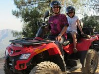 Father and daughter in quad