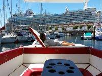 Lounger on the catamaran