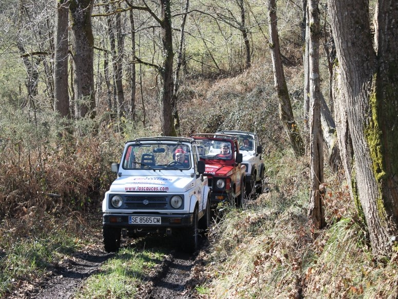 Trail with several 4x4 SUV
