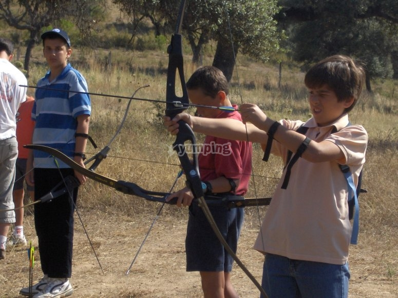 Doing archery