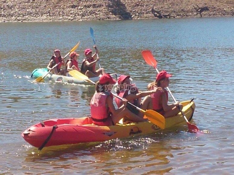 Paddling with the kayak