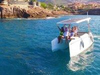 Saluting from the solar catamaran