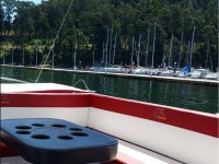 Leaving the port in solar catamaran