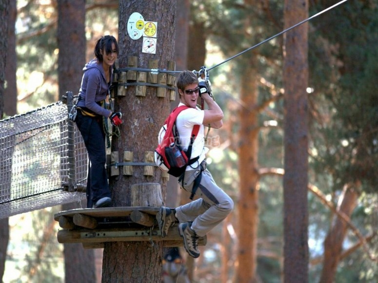 Zip-lining from the tree-top platform