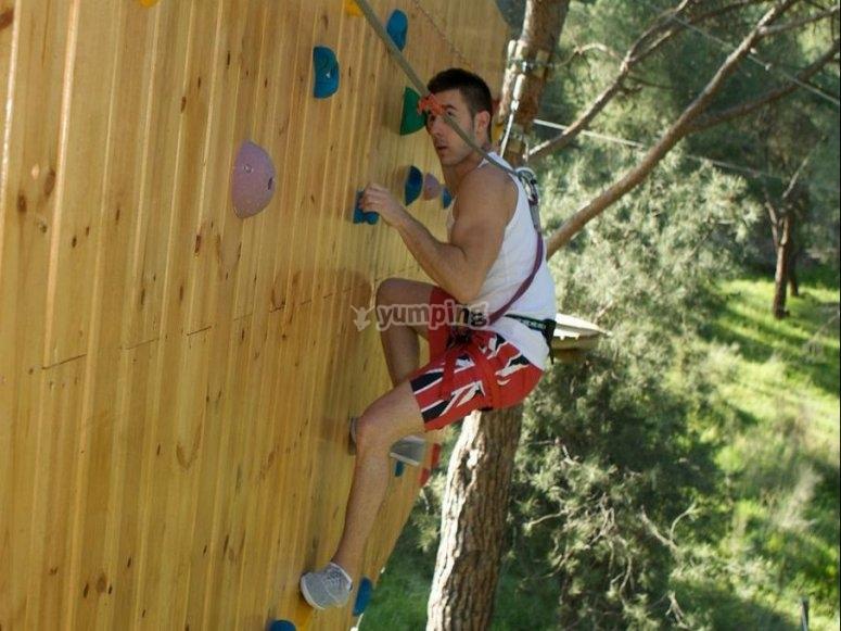 Climbing in a vertical wall