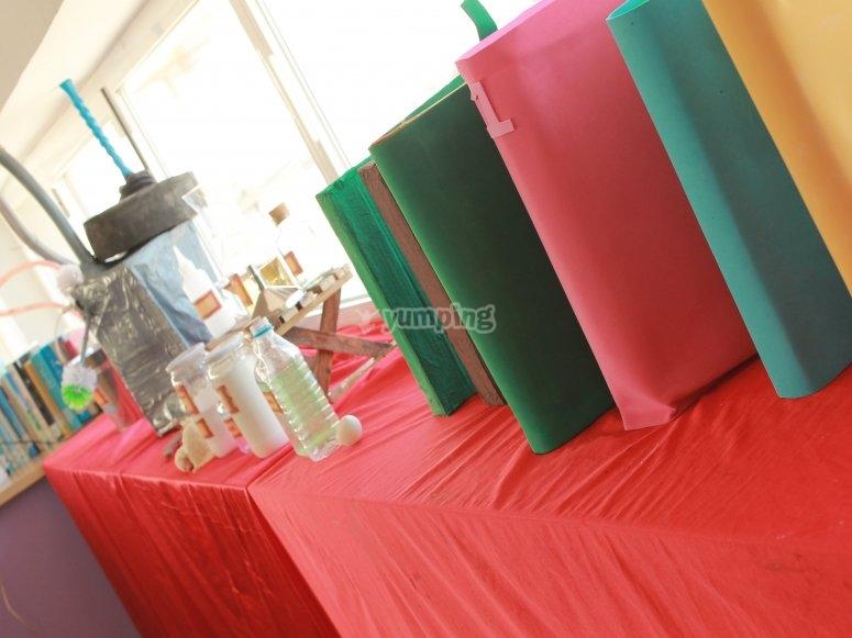 Mesa con los materiales