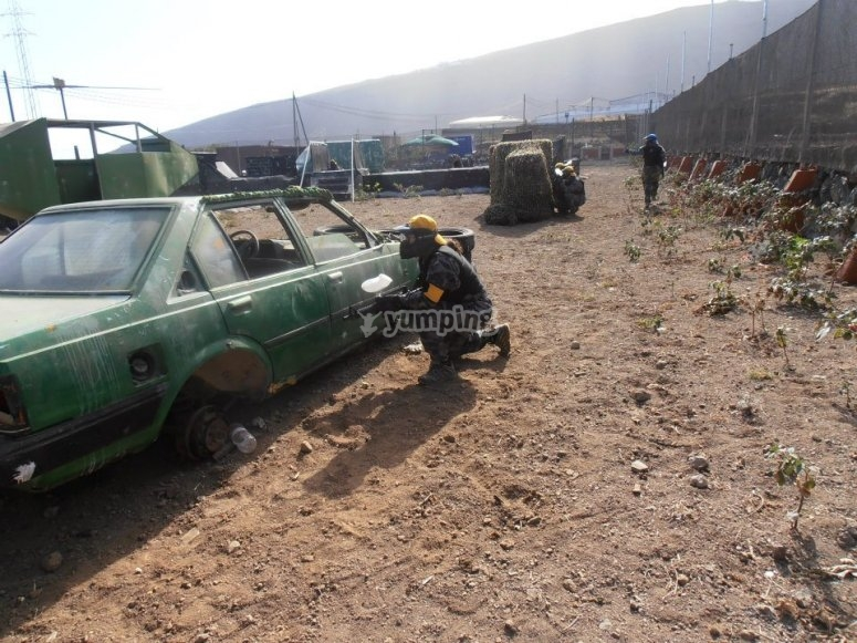 Cars in the paintball field