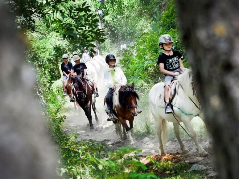 Grupo de ruta con ponys