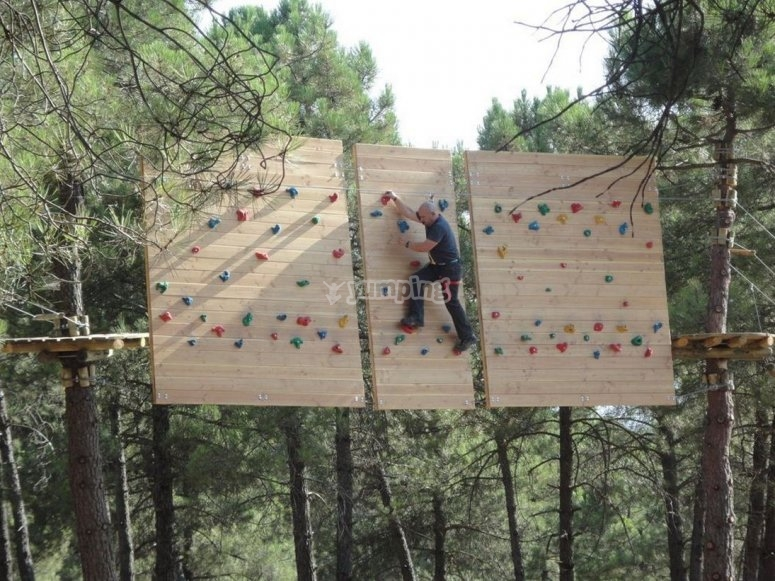 Panels that simulate a climbing wall