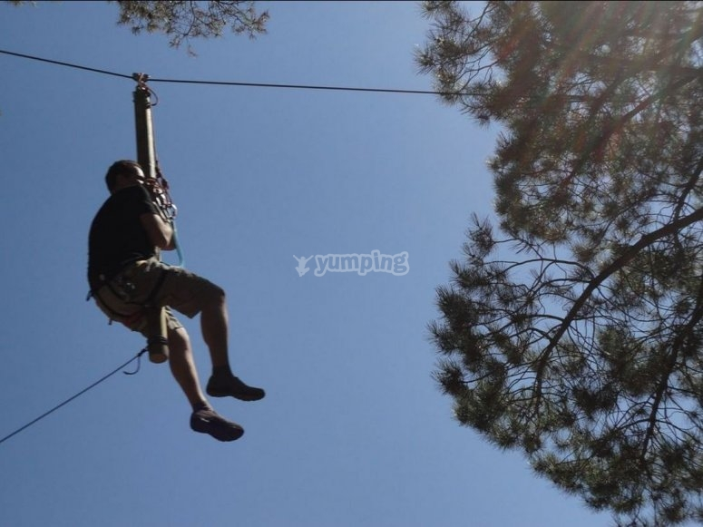 Sitting in the zip-line