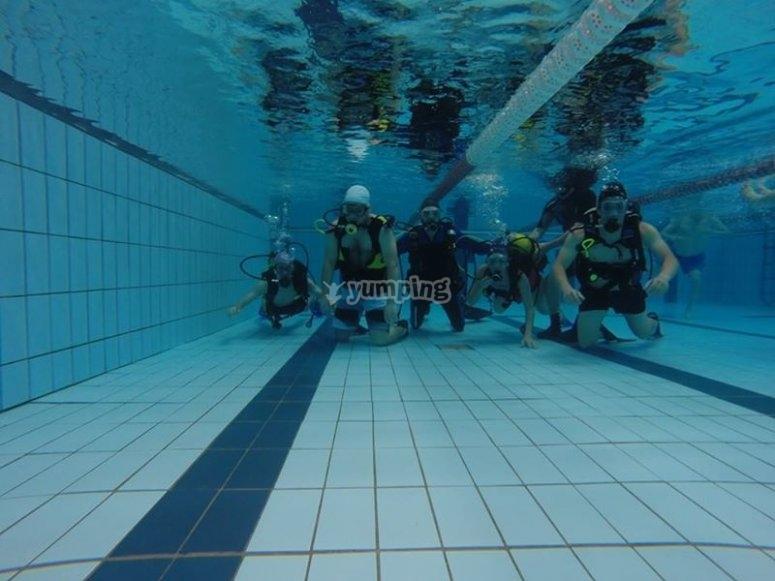 在泳池潜水的学生组
