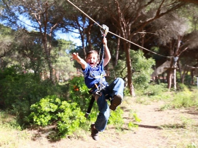Excited on the zip line