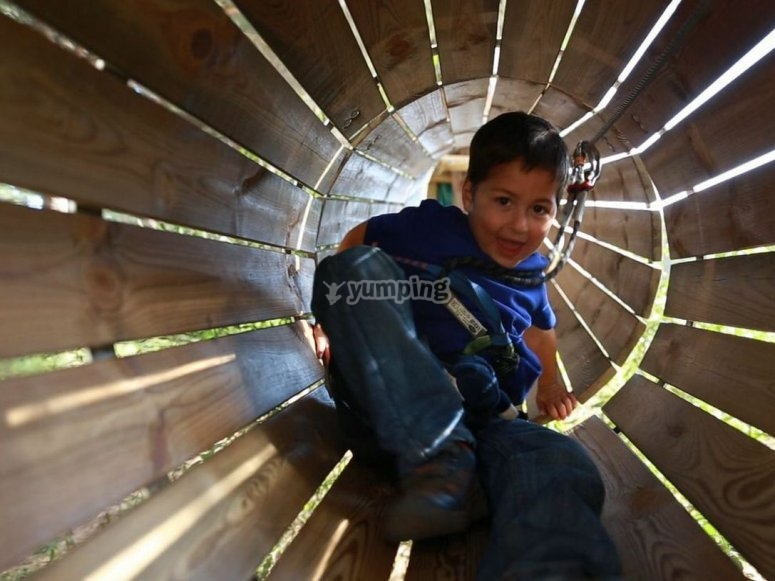 Little child in a tube