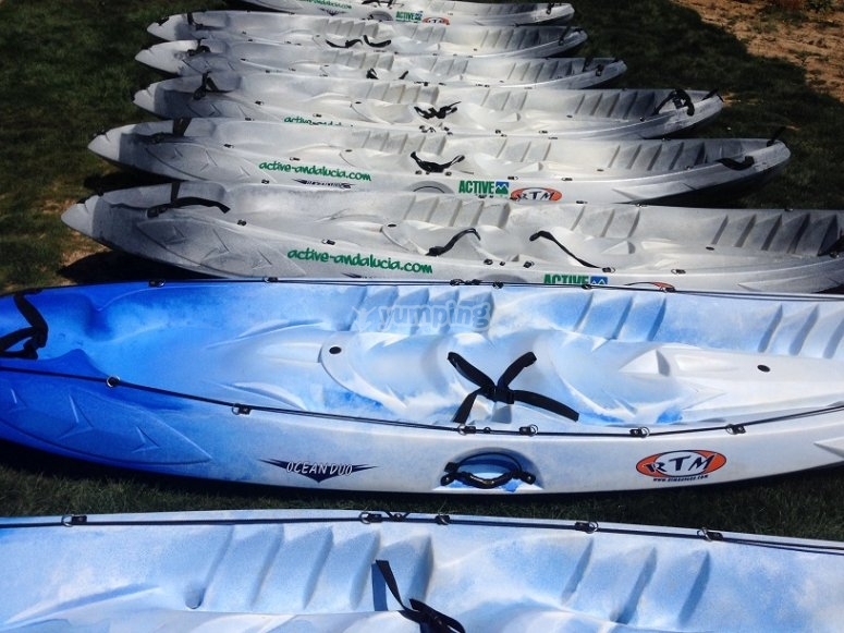 Flota de kayaks preparada