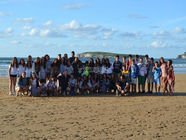 Tutti insieme sulla spiaggia