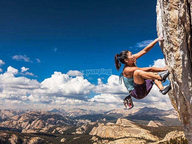 Disfrutando de un día de escalada