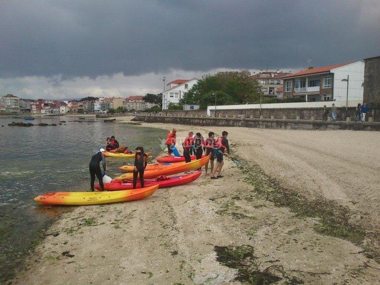 Kayaks in the beach in Pontevedra