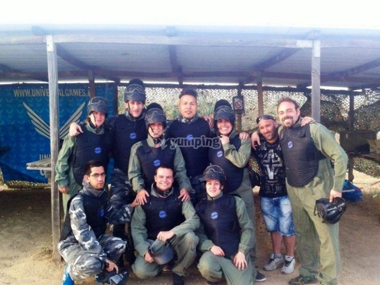 Friends preparing for the paintball match