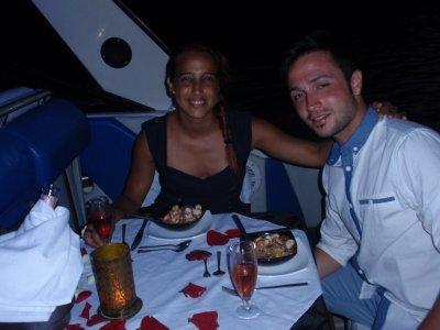 Romantic dinner in a boat at Mallorca