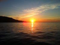 在海上日落,日落