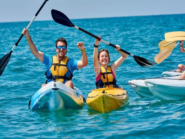 Alquiler de kayak en familia Playa Tamarit