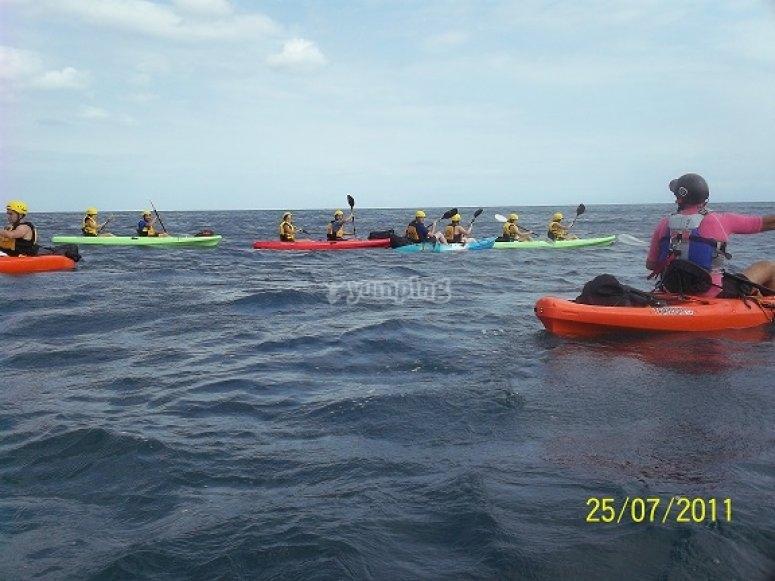 Paseando en kayaks