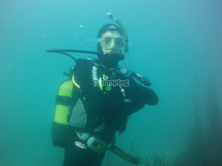 Diver in vertical