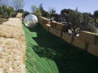 zorbing sobre hierba