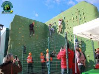 Children climbing the climbing wall