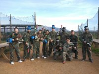 All together to play paintball