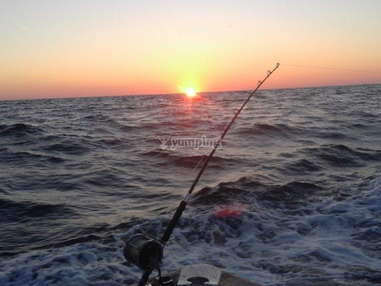 Cana de pescar en el barco