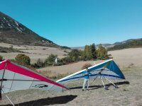Setting up the hang glider