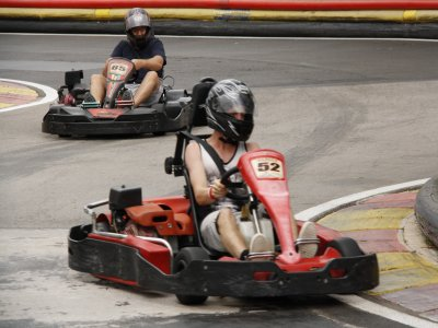 Drive a kart in Ibiza for 8 minutes. For adults.