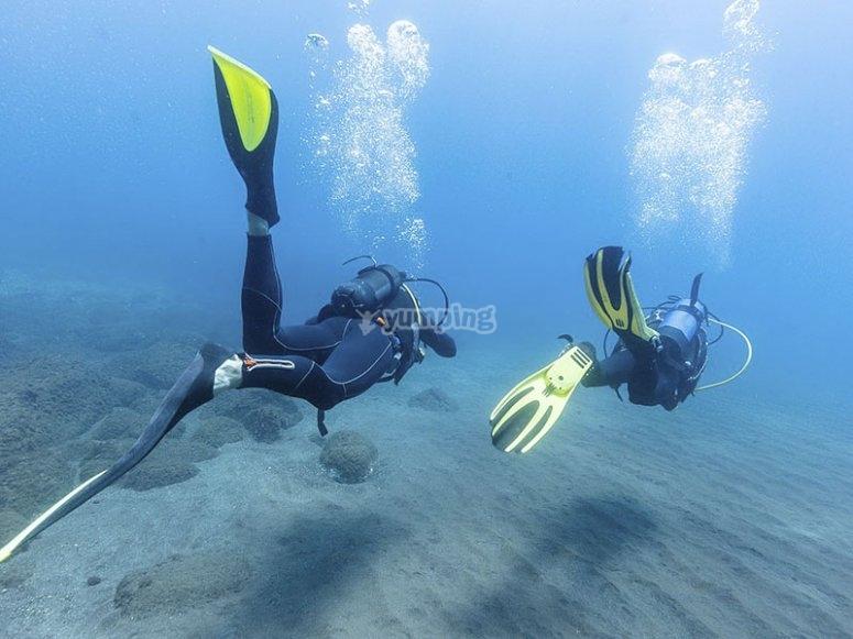 享受潜水日